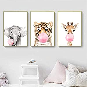 Safari Animal Tiger Giraffe Leopard Canvas Painting Pink Bubble Gum Nursery Poster Print Wall Art Pictures for Kids Living Room-40X50cmx3 Pcs No Frame