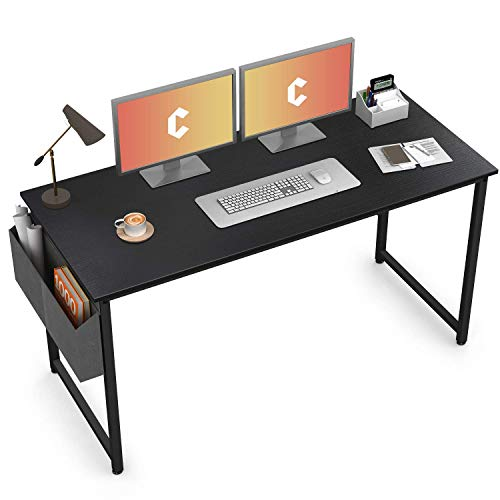 Cubiker Computer Desk 55' Home Office Writing Study Desk, Modern Simple Style Laptop Table with Storage Bag, Black