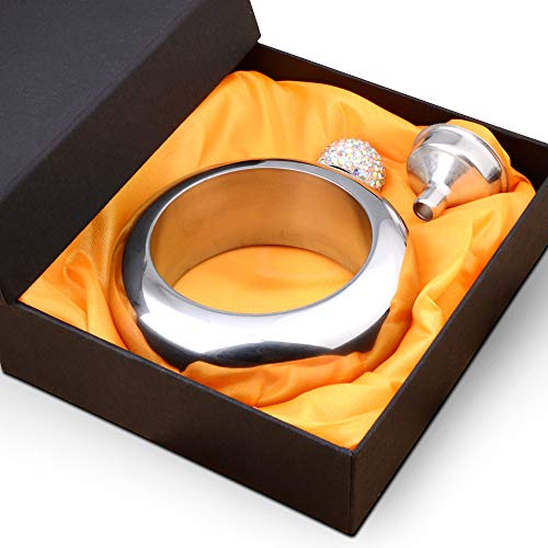Liquor Flask for Women with Funnel - Stainless Steel Bangle Bracelet Flask Alcohol Wrist Jewelry (Silver Crystal)