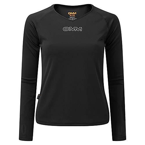 OMM Original Mountain Marathon Camiseta de Manga Larga con rodamiento para Mujer, Mujer, Camiseta de Manga Larga, OC140K1B0S, Negro, S