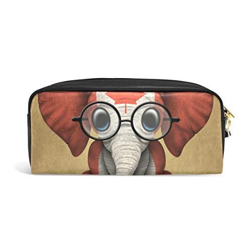 Montoj Baby Elefant mit Brille und Kanadische Flagge Stifthalter Stifteetui