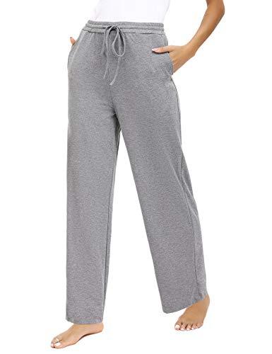 Akalnny Pantalones Casuales para Mujer Pantalones de Chandal de Yoga de Color Sólido Pantalones Deportivos Largos Casual Regular Adecuado para Deportes con Bolsillos(Gris Oscuro, L)
