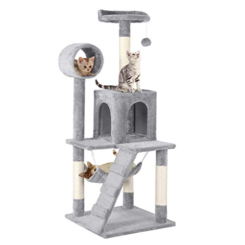 Yaheetech Cat Tree Tower Activity Centres Scratching Post with Tunnel/Condo/Hammock,Light Grey
