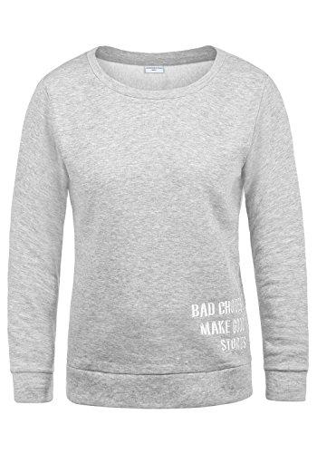 ONLY Luisa Damen Sweatshirt Pullover Sweater Mit Rundhalsausschnitt Und Fleece-Innenseite, Größe:S, Farbe:Light Grey Melange