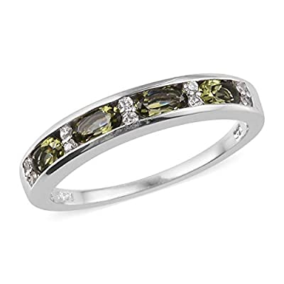 925 Sterling Silver Platinum Plated Oval Moldavite Zircon Ring Wedding Anniversary Bridal Jewelry for Women Size 10 Ct 0.8