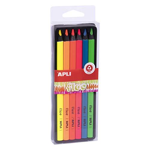 APLI 18060 - Lápices Jumbo Fluo colores surtidos caja 6 u, Fluor