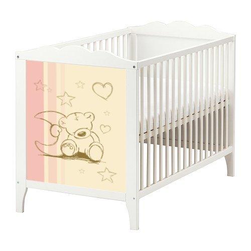 Stikkipix Teddy Aufkleber in rosa und Creme für das Babybett Hensvik von IKEA - BB02 - Möbel Nicht Inklusive