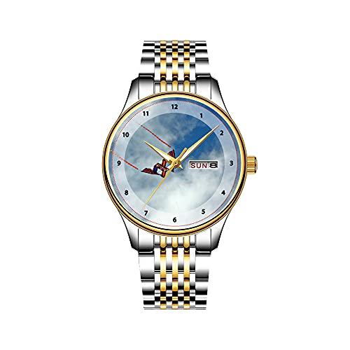 Reloj de pulsera para hombre, mecanismo de cuarzo, fecha, acero inoxidable, correa dorada, diseño de guitarra acústica