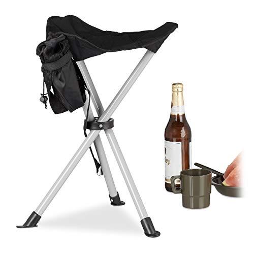Relaxdays kruk met 3 poten, 40 cm zithoogte, rugvrije stoel, voor de tuin, camping, zwart