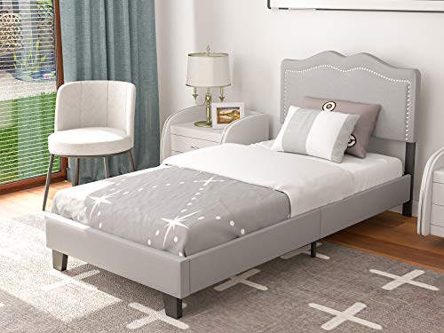 mecor Upholstered Linen Twin XL Platform Bed Frame - Adjustable Height Curved Fabric Headboard - Nailhead Trim Design - No Box Spring Required - Light Grey, Twin XL