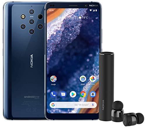 Nokia 9 PureView Smartphone, entsperrt, 4G, Display 6 Zoll, 128 GB ROM, 6 GB RAM, Dual SIM oder Nano + MicroSD Android One Pie 9.0 Blau blau
