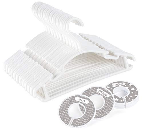 ilauke 36 Pack White Plastic Nursery Hangers, Ultra Thin Space Saving Baby Hangers Nonslip Tubular Hangers with 8 Pcs Baby Size Dividers