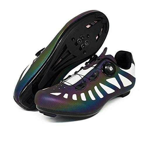 Mens Cycling Shoes Road Bike Shoe with SPD,Riding Rotating Shoe Buckle Breathable Cleat Indoor Cycling Shoes Luminous (7,Multicolor)