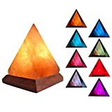 V.C.Formark USB Himalayan Salt Lamp with 8 Colors Changing,Pyramid Crystal Salt Rock Lamp for Office,Home Deco,Yoga,Holiday Gift - Hand Carved,Genuine Wood Base