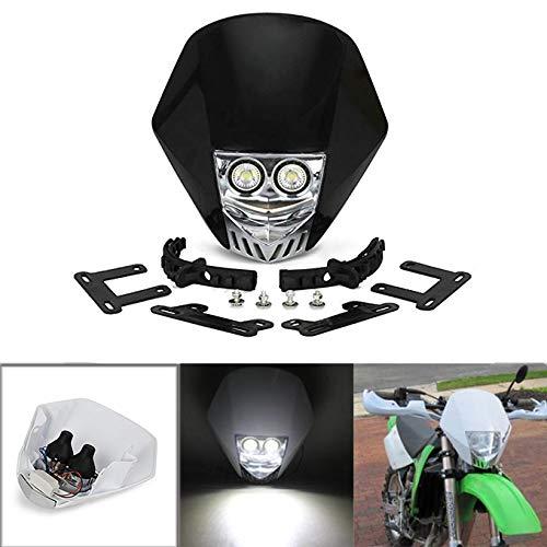 JFG RACING Double ampoule LED 5 W 12 V universelle modifiée lampe frontale pour moto Dirt Pit Bike ATV Scooter – Noir
