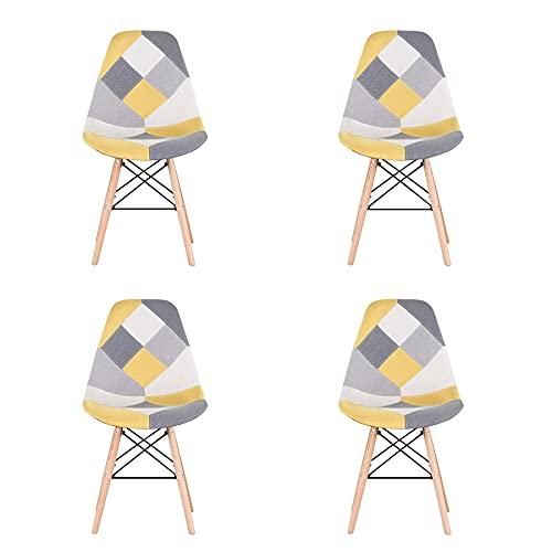 BenyLed Lot de 4 Chaises de Salle à Manger Rétro Patchwork Chaise Tissu Salle à Manger Chaise pour Cuisine Salle à Manger (Jaune)