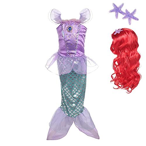 Lito Angels Disfraz Sirenita Vestido Sirena Princesa Ariel con Peluca de Pelo para Niñas, Talla 6-7 años, Púrpura