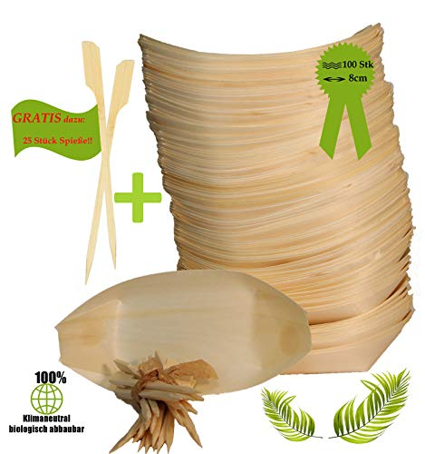BIOQUQ Snackschale|Holzschale Schiffchen|Bio Einweggeschirr|kompostierbar|Fingerfoodschale (8cm, 100 Stück)