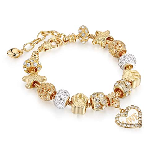 Gold & Silver LOVE Heart Plated Charm Bracelet Bundle for Women and Girls with Gift Set