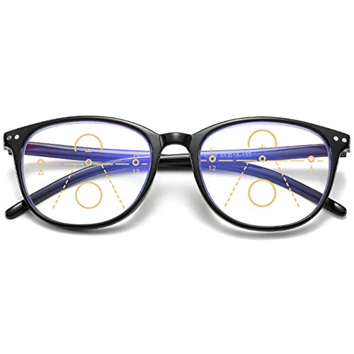 KOOSUFA Gleitsichtbrille Progressive Multifokus Lesebrille Damen Herren Anti-Blaulicht Sehhilfe Retro Lesehilfe Anti Müdigkeit Brille 1,0 1,5 2,0 2,5 3,0 3,5 4,0 (1x Schwarz, 1.5)