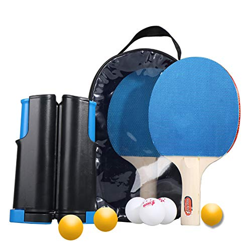 Great Price! Lcyy-Abs Table Tennis Set with Retractable Net, Portable Ping Pong Paddle Set with 2 Pi...