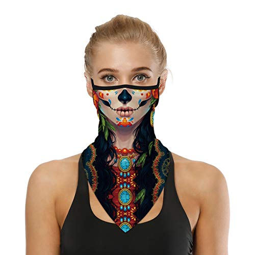 Fzroezz Punisher Joker Sugar Skull Cloth Face Bandana Mask Covering Cover Scarf Reusable Summer UV Neck Gaiter Ear Loops Hangers Breathable Balaclava Facemask Bandanas for Women Men Adults