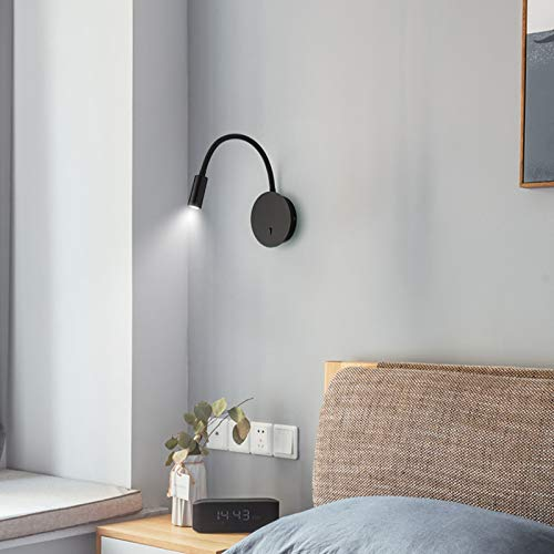 QEGY LED Lampara Pared Cuello de Cisne con Interruptor, 3W Negro Lampara Lectura Pared 360° Ajustable, Blanca Aplique de Pared Dormitorio Lámpara de Cabecera de Pared,B/warm light