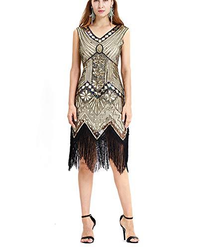 YonglanA Damen Der 1920er Jahre V Ausschnitt Perlen Fransen Gatsby Plus Size Flapper Kleid Für Abschlussball Aprikose Gold L