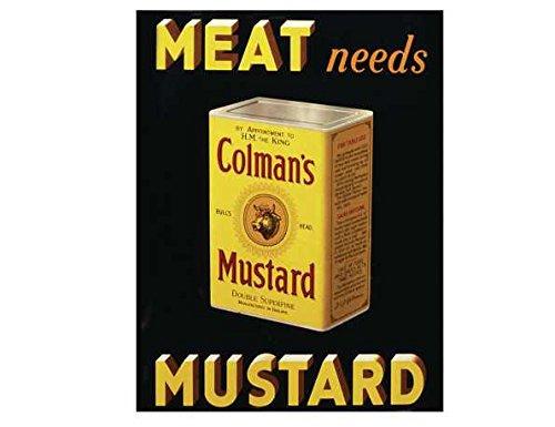 Vlees moet colman mosterd shabby chique vintage stijl acryl sleutelhanger sleutelhanger