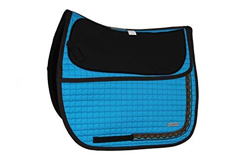 EQUINOS Schabracke Türkis mit polsterbaren Taschen für baumlose Sättel und Fellsättel
