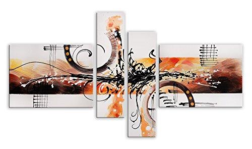 World Art TWAY044QX1 Abstracto Pintura Compuesta, Madera, Multicolor, 85x160x3 cm
