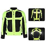 Terisass Chaquetas para montar en motocicleta para hombres, a prueba de viento, transpirable, para motocicleta, equipo protector de cuerpo completo, armadura, ropa reflectante(3XL)