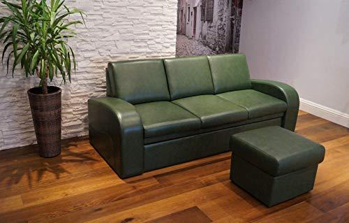 Quattro Meble Grün Echtleder 3 Sitzer Sofa Oslo FS Breite 200cm mit Schlaffunktion + Hocker Ledersofa Echt Leder Couch große Farbauswahl !!!