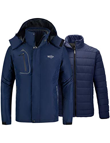 Wantdo Men's 3 in 1 Extreme Cold Jacket Work Snowmobile Winter Coat Navy Blue XL