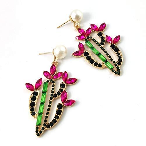 YZYZ Pendientes de diamante con forma de cactus, para niñas, dulces, con perlas, regalo