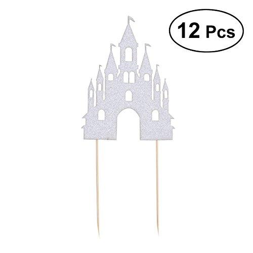 Toyvian 12pcs Torta Toppers Glitter Castello a Forma di stuzzicadenti Torta Cupcake Decor per Il Compleanno Festa di Nozze favori di Partito (Argento)