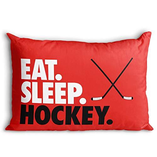 Eat. Sleep. Hockey. Pillowcase | Hockey Pillows by ChalkTalk Sports | Red