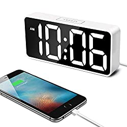 7.5 Large LED Digital Alarm Clock with USB Port for Phone Charger, 0-100% Dimmer, Touch-Activated Snooze, Outlet Powered (White)