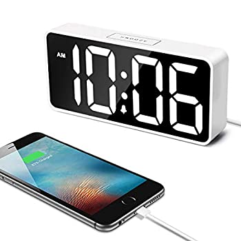 Welgo LED Digital Alarm Clock with USB Charging Port 0-100% Dimmer Large Number AM/PM White Bold Digits Snooze Adjustable Volume Outlet Powered for Bedroom Bedside White