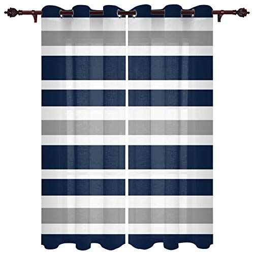 """FAMILYDECOR Navy Blue Grey and White Stripes Breathable Window Curtains/Drapes for Bedroom and Living Room 27.5""""x39""""x2 Panels All Season Window Treatment with Grommet Top for Sliding Glass Door"""
