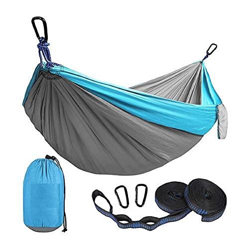 Outdoor Travel Hängematte Nylon Parachute Tuch Hängen Blech-Person Doppel Camping Radfahren Indoor Freizeit Swing Chair Maximale Ladung 300 kg-Blau_300 * 200.
