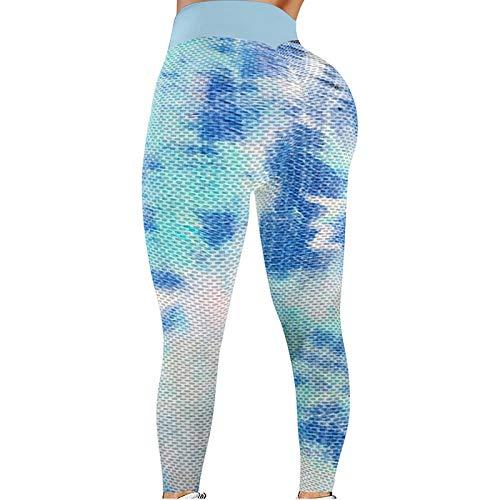 NAQUSHA Pantalones de yoga de cintura alta para mujer, leggings elásticos de tie-dye para levantamiento de glúteos, para correr, gimnasio, deportes, pantalones activos