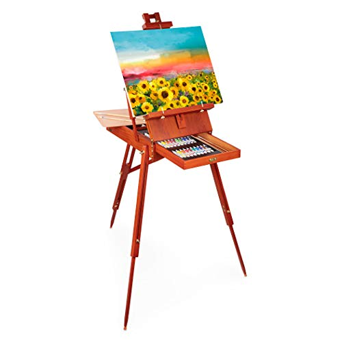 Craftabelle – Art Easel and Canvas – 34pc Set with Paint Supplies – Wooden Italian Easel (CF2441Z)