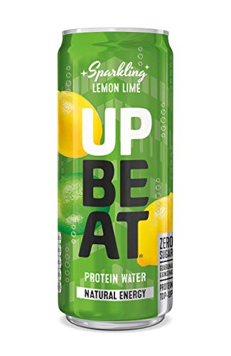 UPBEAT *New* Sparkling Protein Water, Natural Energy | Guarana & Ginseng | Real Fruit | Protein Boost | 12x 330ml Lemon Lime