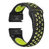 ZHONGGOZZ Silicone Watch Band Strap Strap Reemplazo Forgardmin Fenix 6 6X 6s Pro 5X 5X 5s Plus Sport Smart Watch Pulsera (Band Color : Black Yellow, Band Width : Fenix 5X 5xplus)