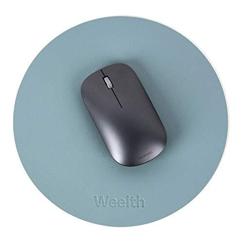 Weelth Mauspad Runde Office Ø 22 cm, Mousepad doppelte Farbe in Standard-Größe, rutschfest Mousepad wasserdicht PU Leder Matte für PC, Computer und Laptop (Hellblau/Silber)