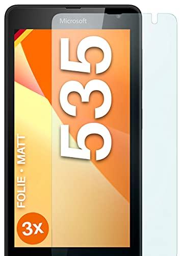 moex Schutzfolie matt kompatibel mit Microsoft Lumia 535 - Folie gegen Reflexionen, Anti Reflex Bildschirmschutz, Matte Bildschirmfolie - 3X Stück