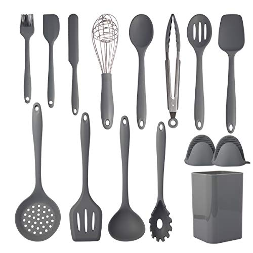 Cooking Utensils Set,15 Piece Silicone Kitchen Utensil Set,Non-Stick Silicone Cooking Utensils,Heat Resistant 446°F Gadgets Cookware Set,kitchen essentials for new home(Non Toxic)