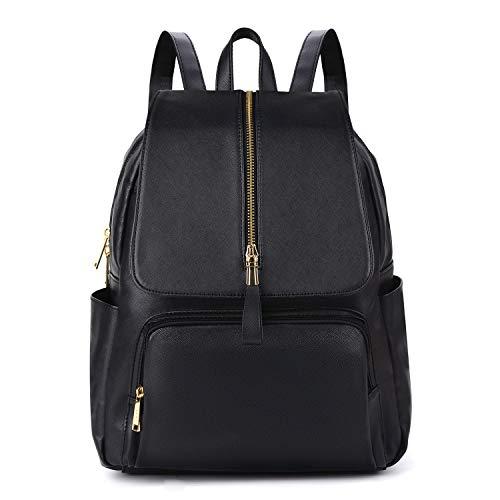 COOFIT Ryggsäck damer läder ryggsäck damer ryggsäck kvinnor läder skolväska ledig dagryggsäck skolryggsäckar väska skolväskor (dragkedja svart)