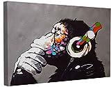 Banksy Bilder Leinwand DJ Monkey Graffiti Street Art